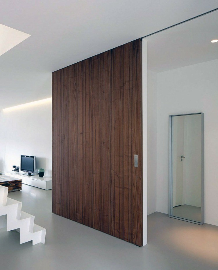 Puerta corredera 50 modelos para un espacio funcional for Puerta corrediza de madera