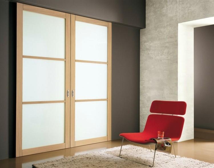 puerta corredera madera blanca sillon