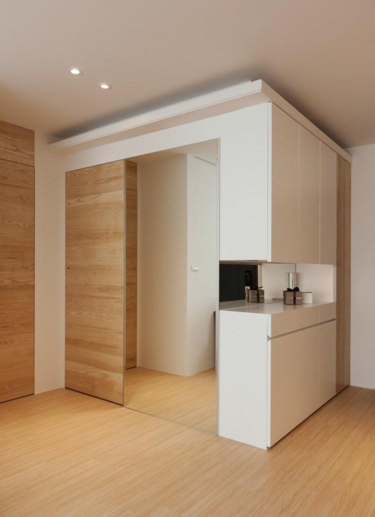 puerta corredera madera suelo led