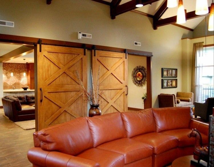 puerta corredera salon estilo granero