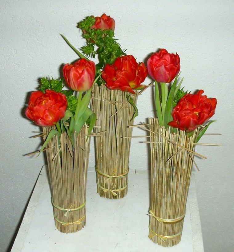 ramos de flores bambu tulipanes rojos ideas