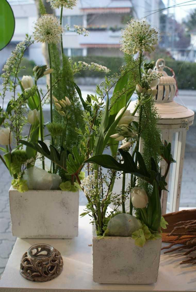 ramos de flores macetas hormigon piedras ideas