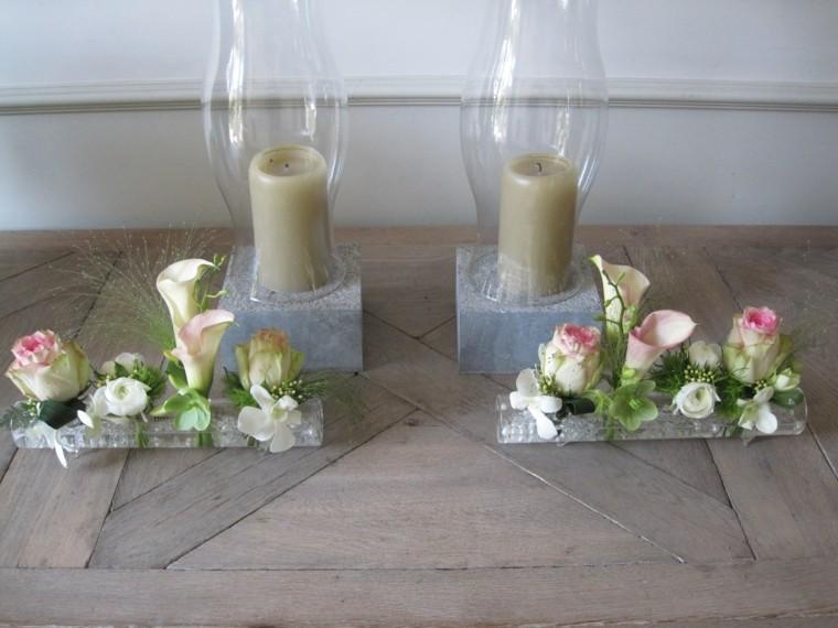 ramos de flores pequenos velas decoracion ideas
