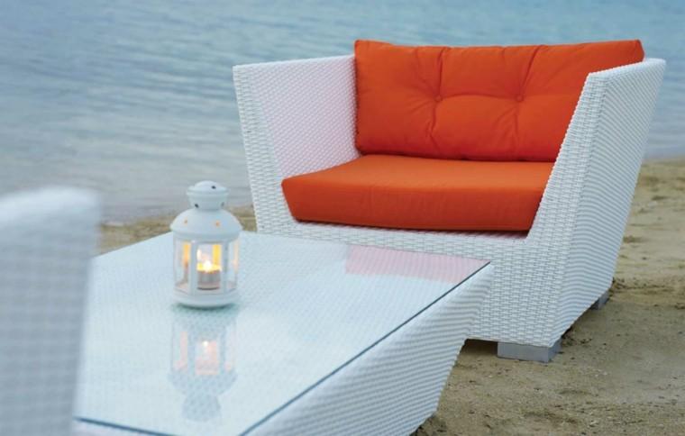 ratan link playa mueble blanco