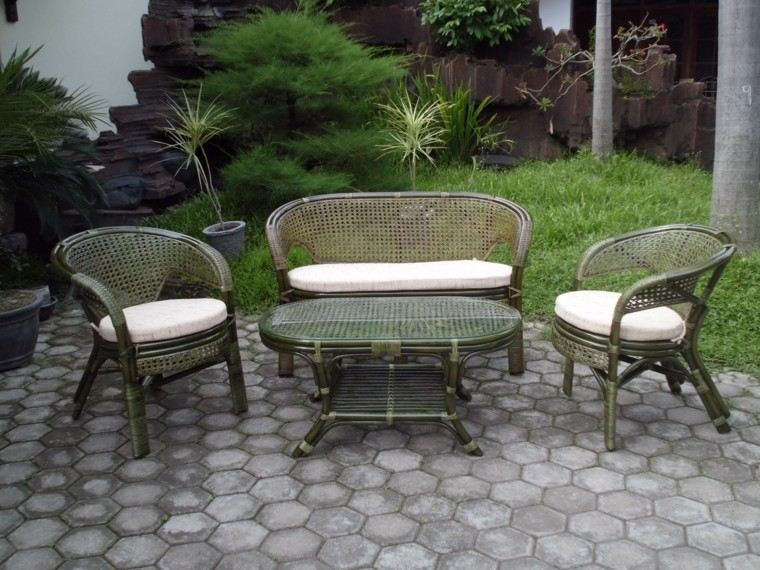 rattan color verde muebles jardin