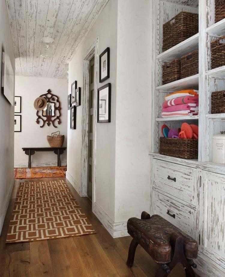 recibidor color blanco muebles despintados