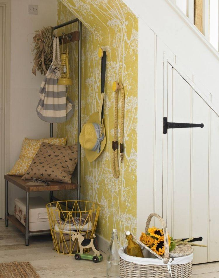 recibidores pasillos pared deco amarilla