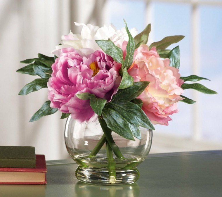 recipiente agua pequeno cristal flores elegnate