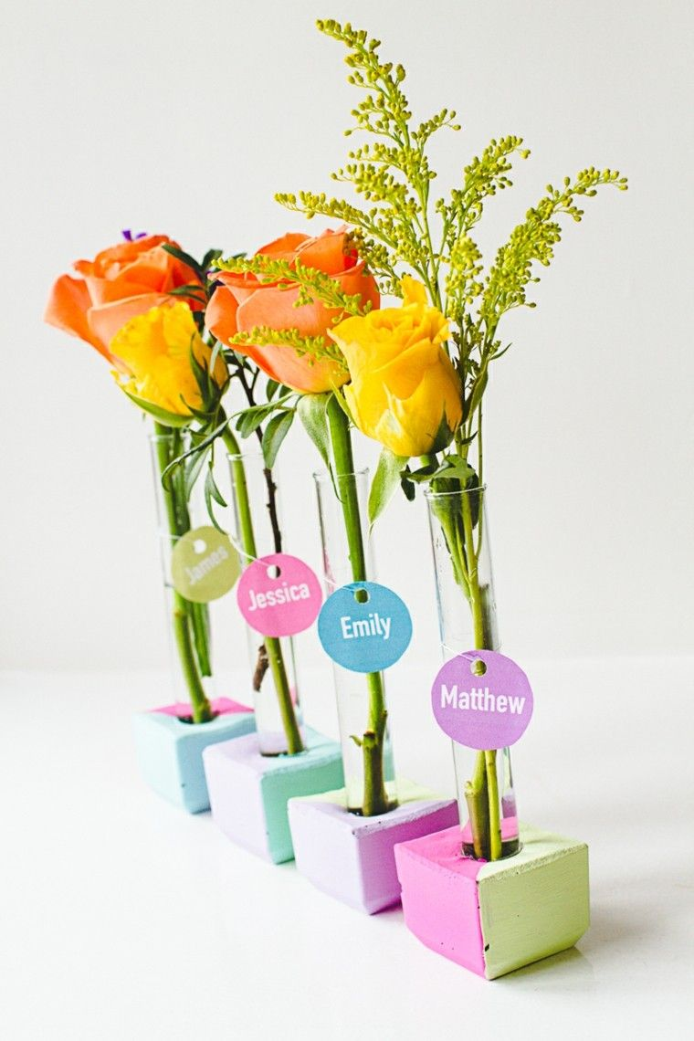 recipientes flores mesa nombres rosas ideas