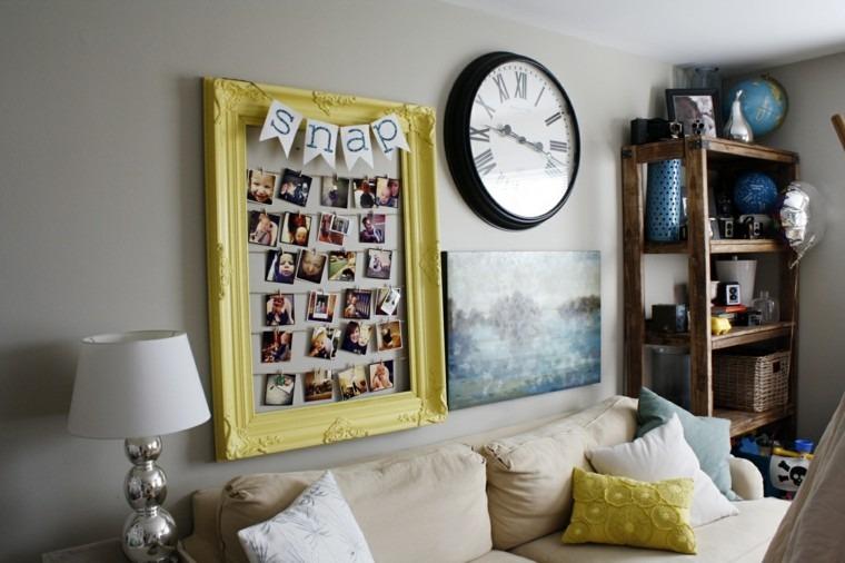 reloj foros cuadro amarillo salon diy