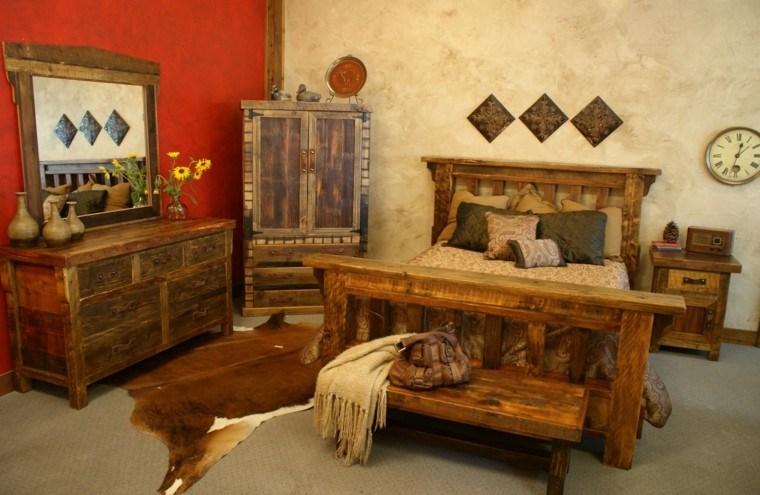 reloj habitacion pieles flores madera