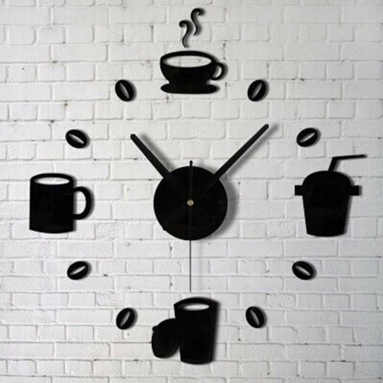 reloj ladrillos pared decoracion blanco