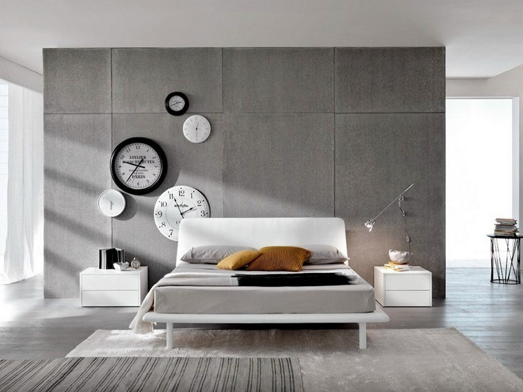 relojes distintos colores dormitorio moderno ideas