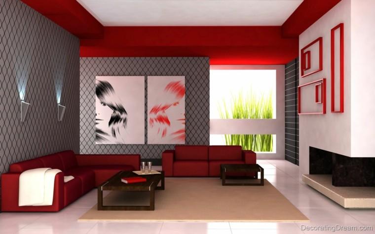 rojo gris combinacion salon moderno