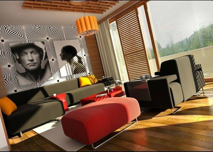 rojo vivo salon suelo madera moderno