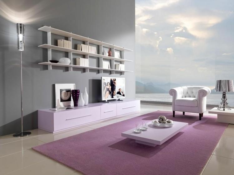 rosa alfombra blanco mueble lampara