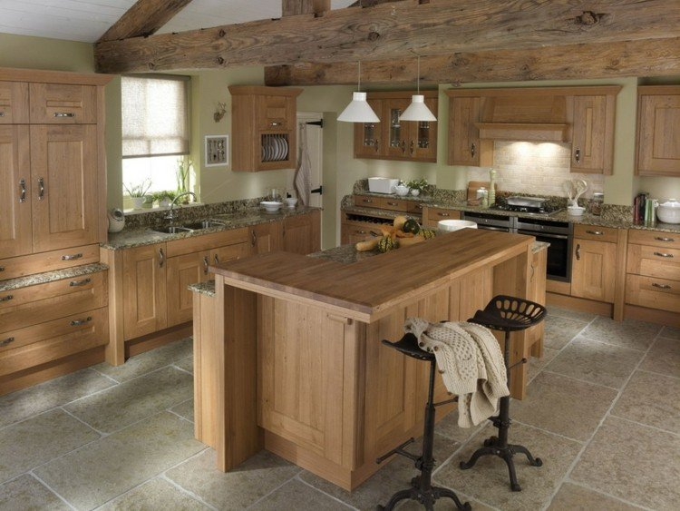 Encimeras dise o madera da un toque natural a tu cocina - Cocinas de campo rusticas ...
