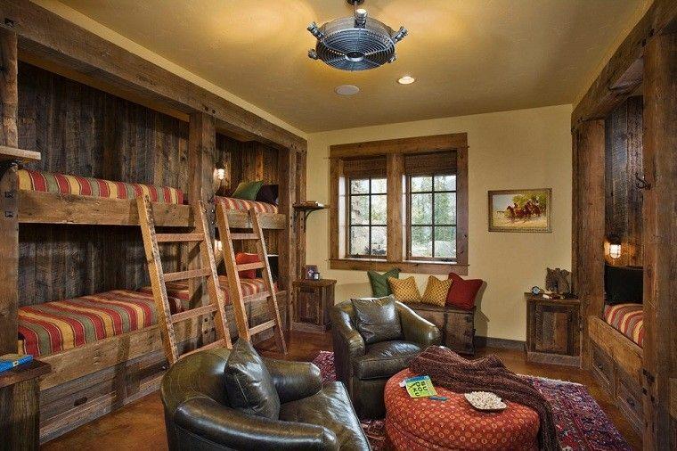 rustico casa madera ninos rayas