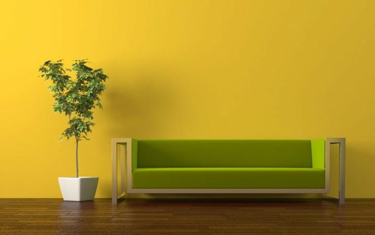 salon pared amarillo verde lima