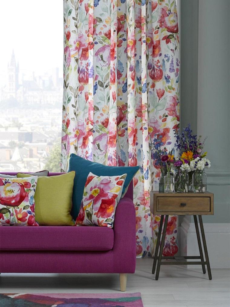 salon cortinas cojines estampa floral ideas