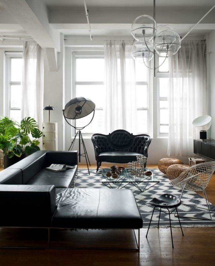 salon elegante muebles cuero negro mesa cristal preciosa ideas