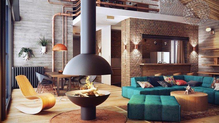 salon estilo idustrial chimenea color negro idea
