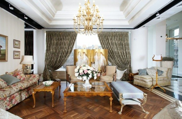 salon estilo victoriano banco azul comodo ideas