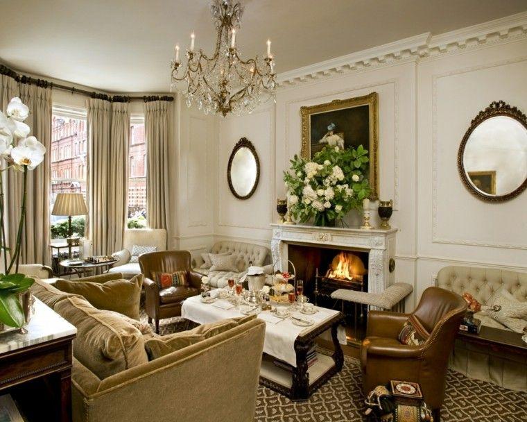 salon estilo victoriano chimenea sillones cuero ideas