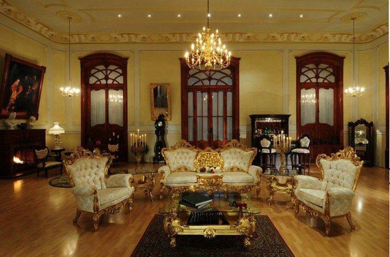 salon estilo victoriano color oro muebles ideas