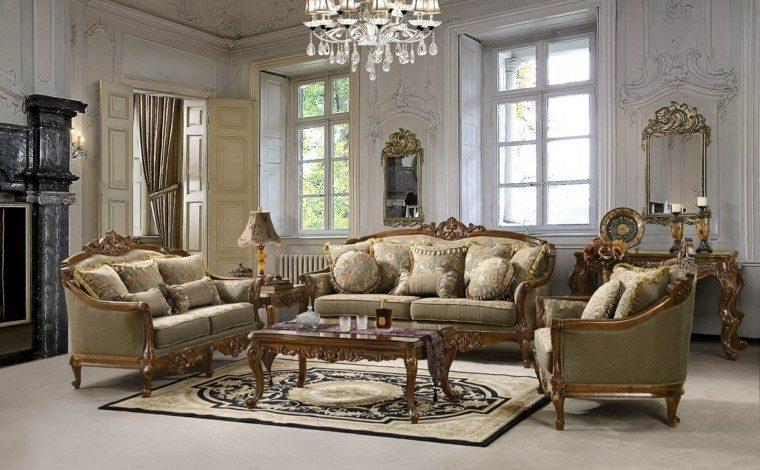 salon estilo victoriano dos espejos pared ideas