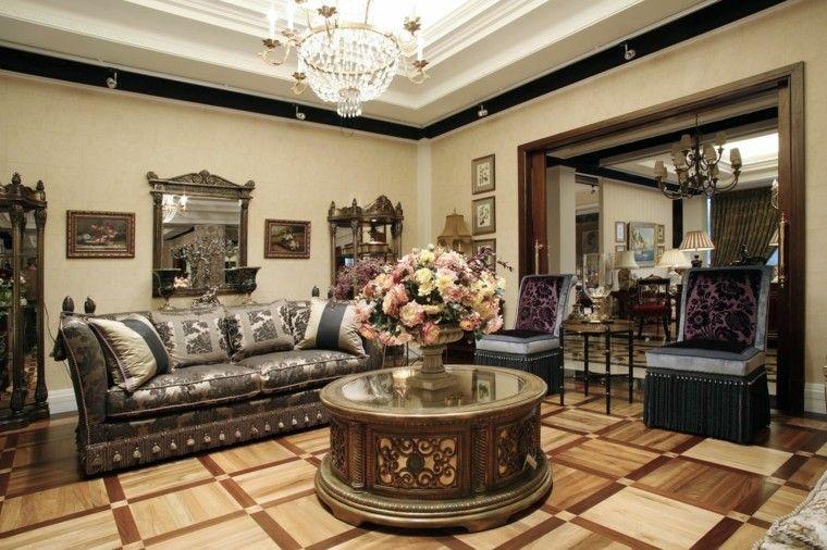 salon estilo victoriano mesa redonda flores frescas ideas