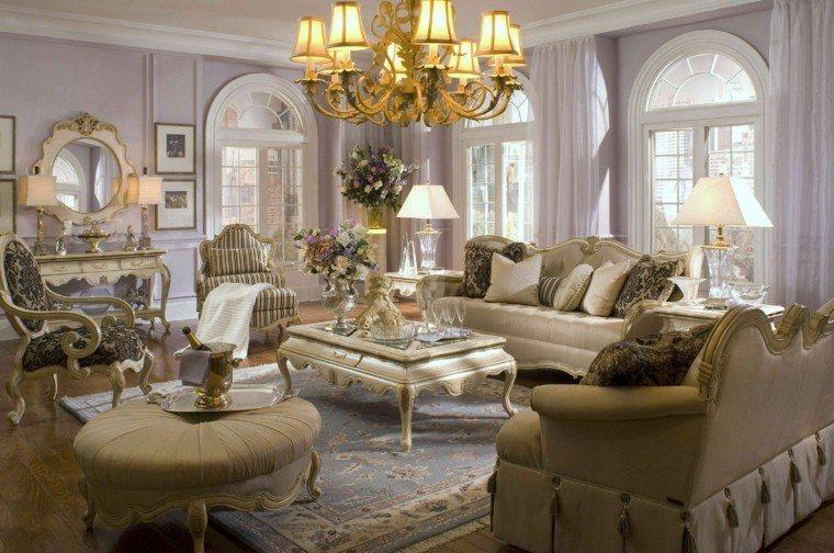 salon estilo victoriano muebles blancos taburete redondo ideas