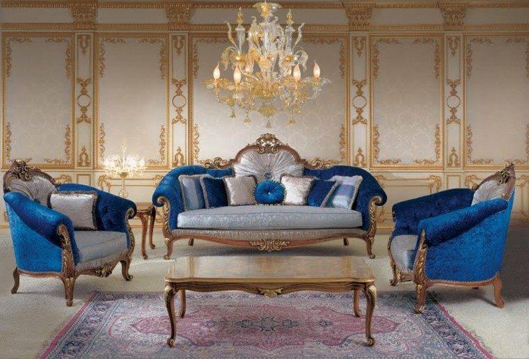 salon estilo victoriano terciopelo azul ideas
