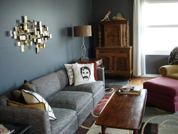 salon color gris muebles madera