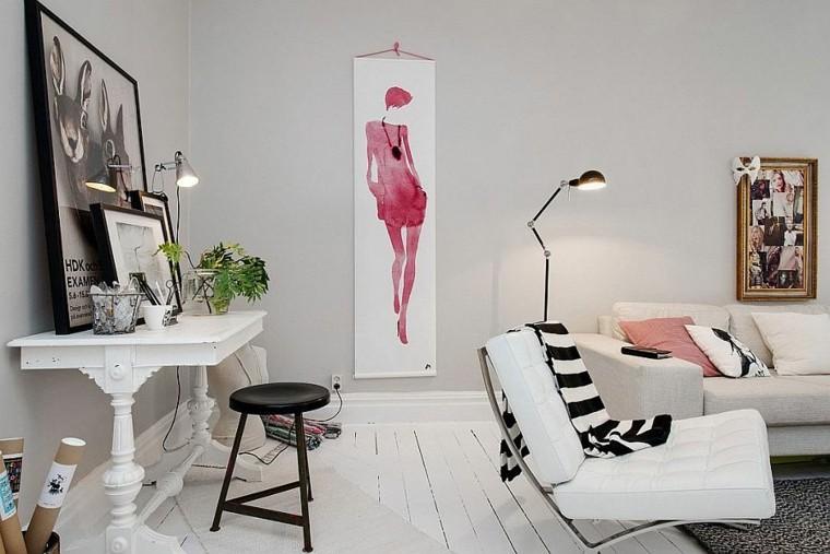 salon mesa madera blanca taburete negro ideas
