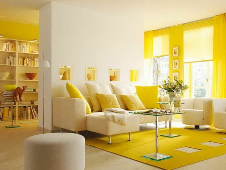 salon moderno colores amarillo blanco