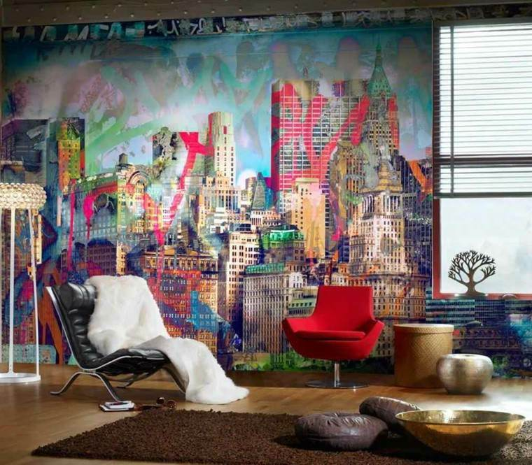 salon moderno butaca roja pared dibujada ideas