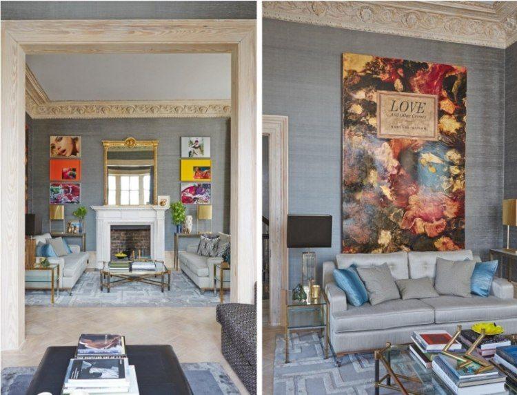 salon moderno chimenea espejo grande cuadros arte colores ideas