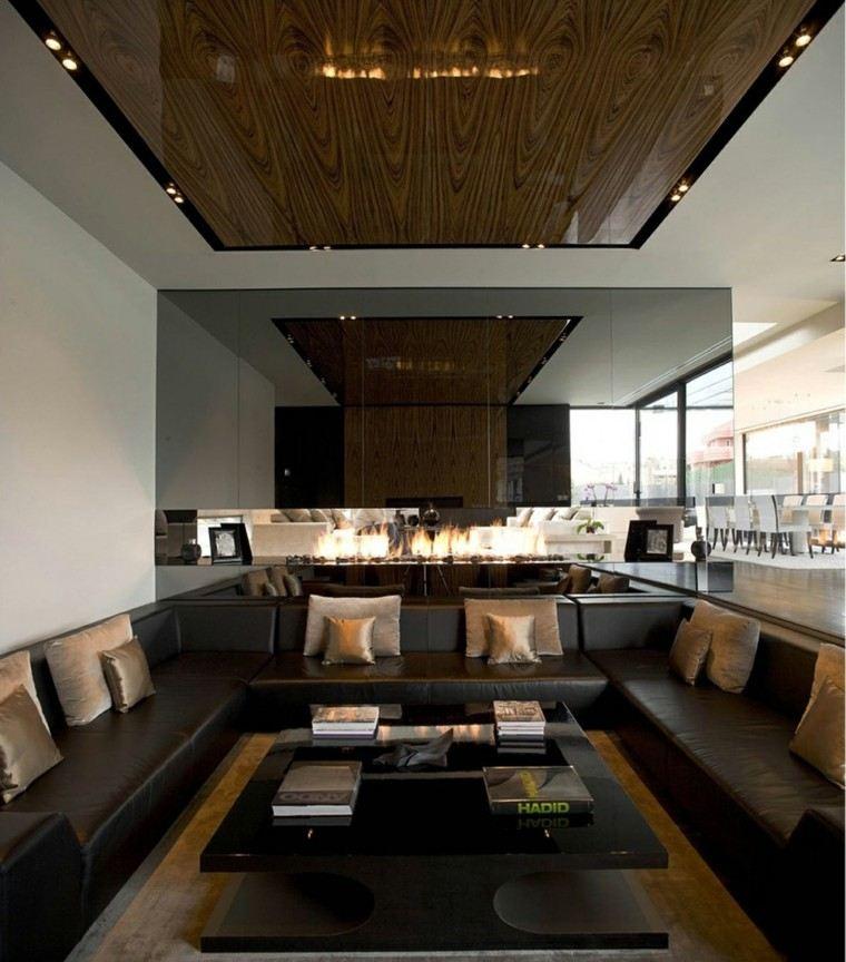 salon diseño moderno chimenea madera
