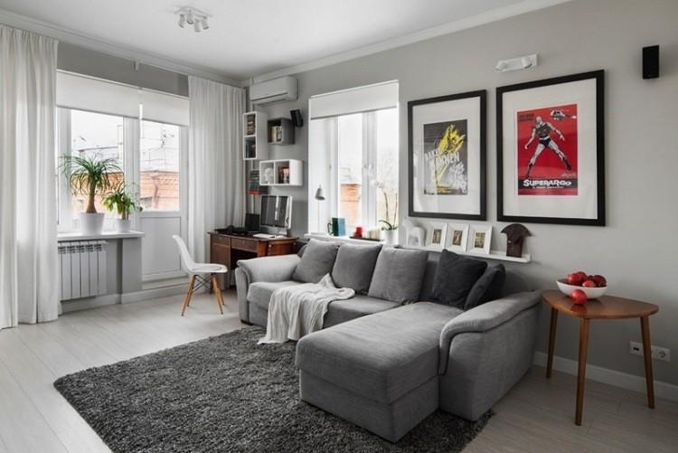 salon moderno combinacion gris blanco muebles pared ideas