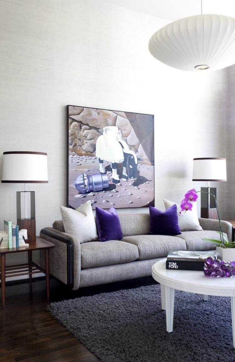 salon moderno cuadro pared arte moderno cojines purpura ideas