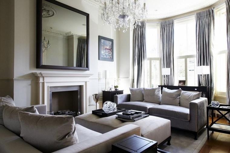 salon moderno espejo grande chimenea ideas