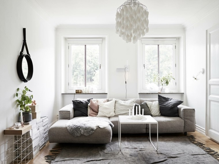 salon moderno estilo escandinavo sofa gris ideas