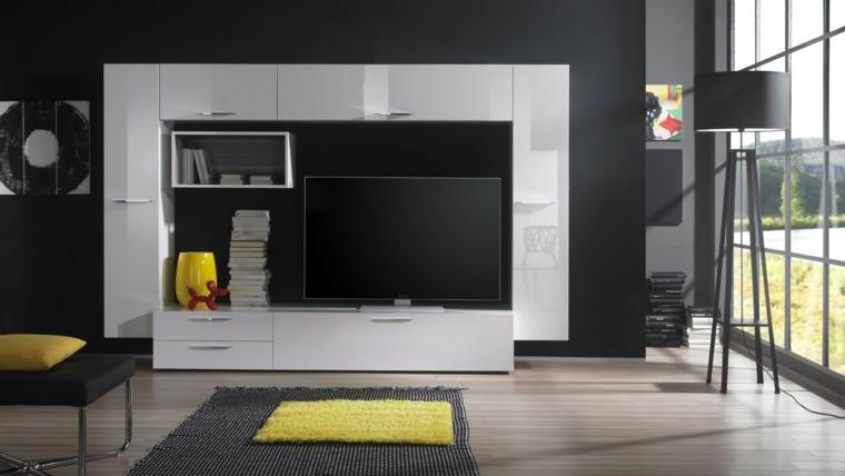 salon moderno colores gris amarillo