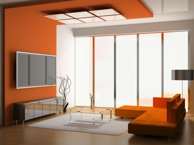 salon moderno color gris naranja