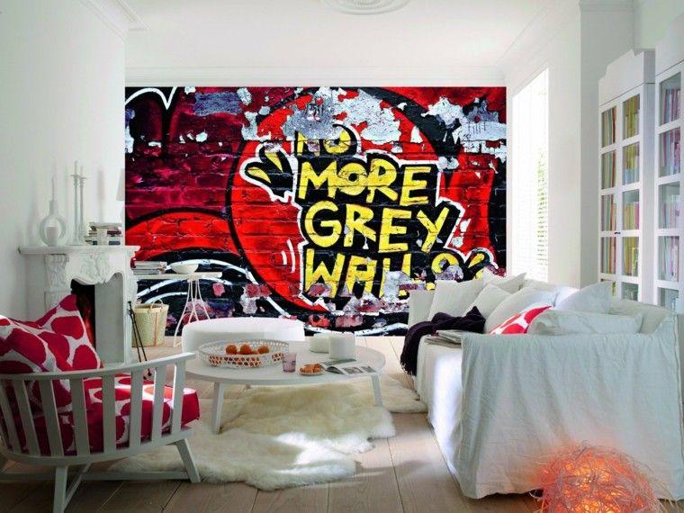 salon moderno muebles blancos pared dibujada ideas