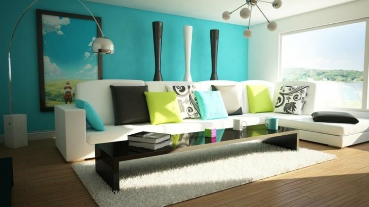 salon diseño moderno pared celeste