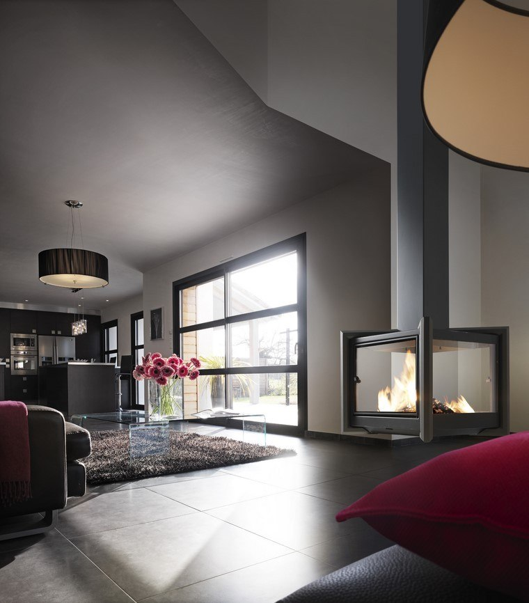 salon moderno pared gris chimenea gas ideas