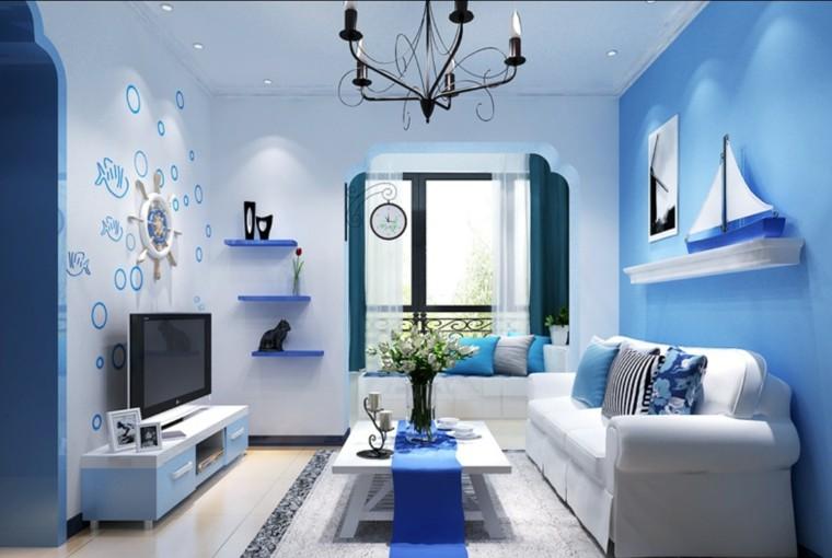 salon moderno parerd peces dibujados azul ideas
