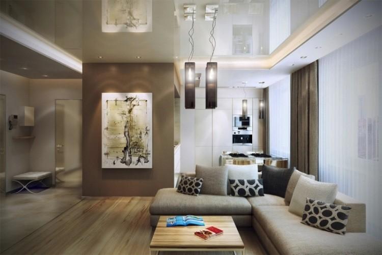 salon moderno suelo madera pared marron sofa gris ideas